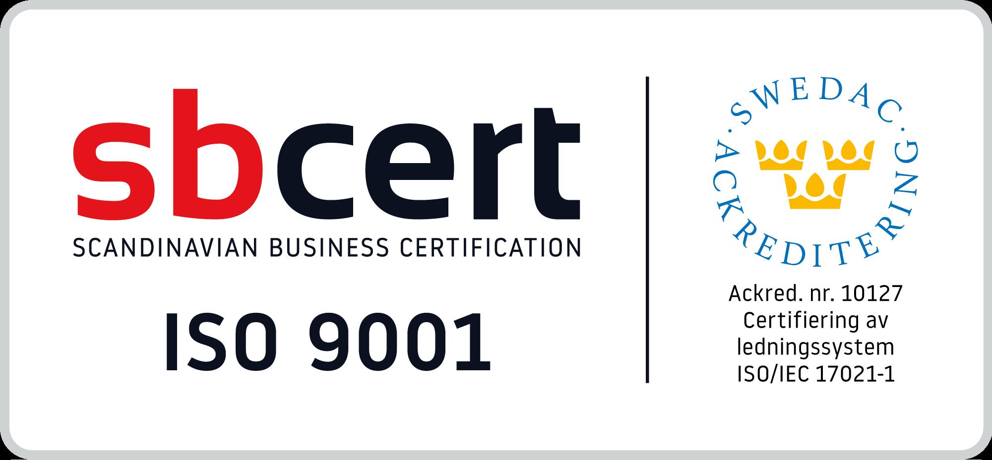 sbcert - Scandinavian Business Certification ISO 9001